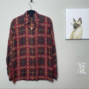 Escada Vintage Rocky Mountain Print Silk Blouse